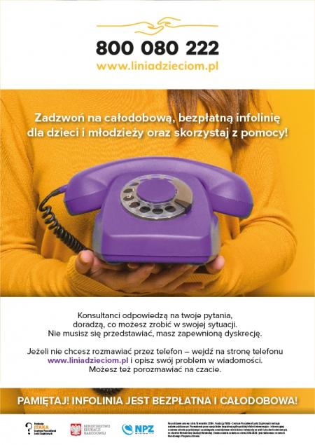 Całodobowa bezpłatna infolinia  dla dzieci, młodzieży, rodziców i pedagogó