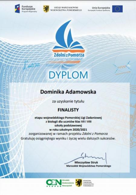 Dominika Adamowska uzyskała tytuł FINALISTY etapu wojewódzkiego Pomorskiej Li